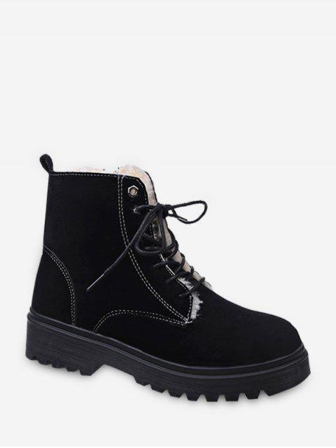 unique Suede Fleece Lace Up Ankle Boots - BLACK EU 40 Mobile