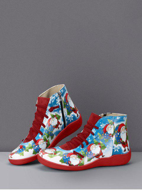 womens Christmas Santa Print Lace Up Ankle Boots - RED WINE EU 35 Mobile