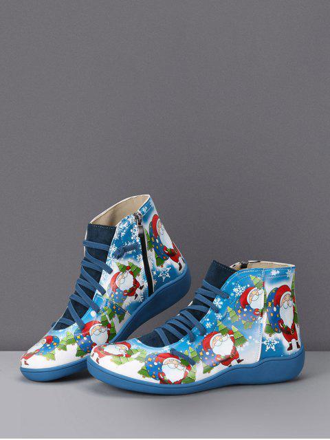 best Christmas Santa Print Lace Up Ankle Boots - BLUEBERRY BLUE EU 38 Mobile