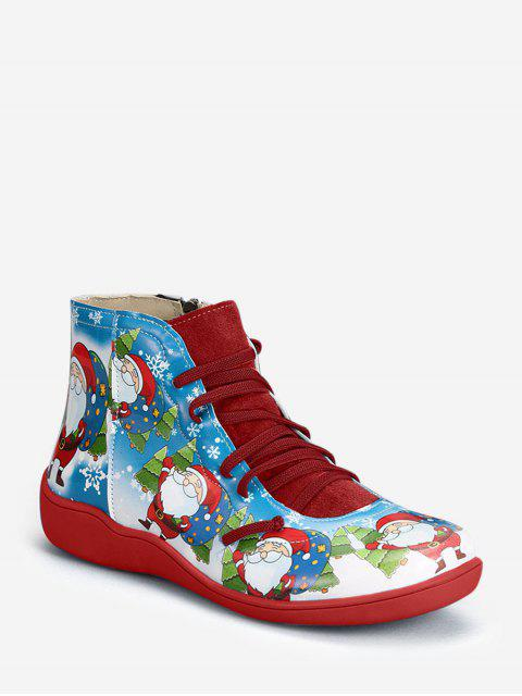 fashion Christmas Santa Print Lace Up Ankle Boots - RED WINE EU 43 Mobile