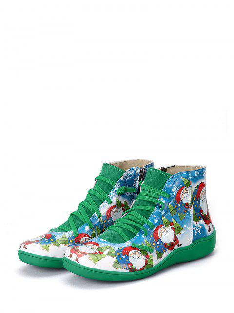 shop Christmas Santa Print Lace Up Ankle Boots - MEDIUM FOREST GREEN EU 43 Mobile