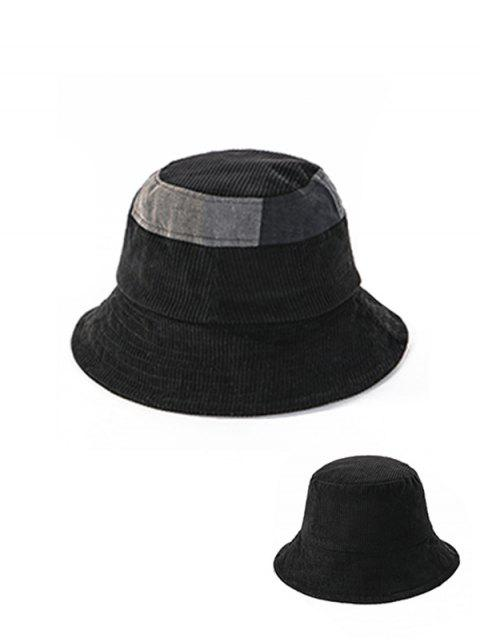 outfit Jointed Plaid Floppy Bucket Hat - BLACK  Mobile