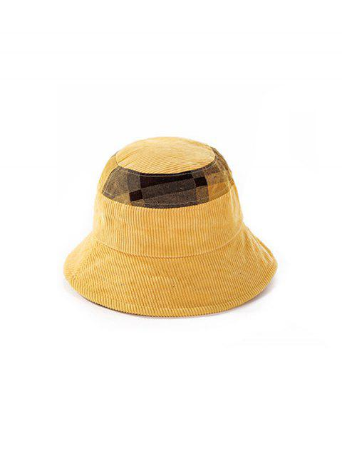 womens Jointed Plaid Floppy Bucket Hat - YELLOW  Mobile