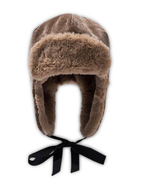 sale Winter Velour Ear Knitted Trapper Hat - CAMEL BROWN  Mobile