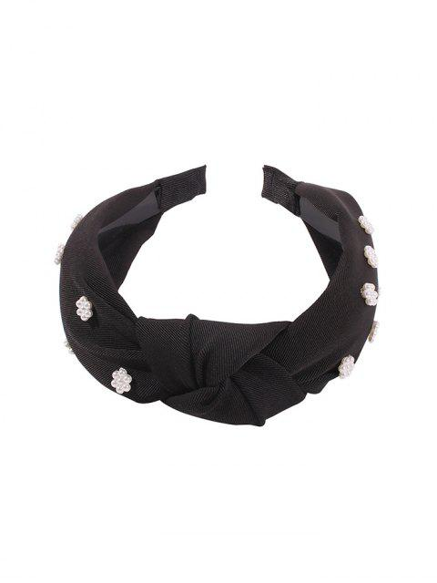 women's Faux Pearl Floral Wide Hairband - BLACK  Mobile