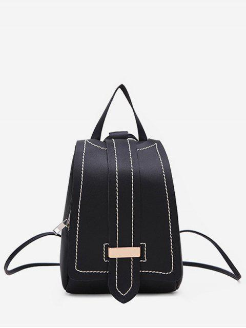 womens Strap Accent Flap PU Leather Backpack - BLACK  Mobile