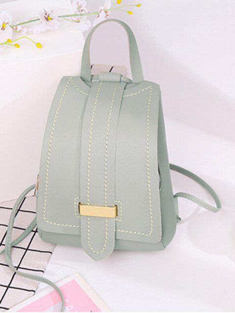 women Strap Accent Flap PU Leather Backpack - LIGHT GRAY  Mobile