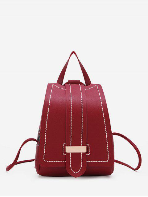 online Strap Accent Flap PU Leather Backpack - RED WINE  Mobile