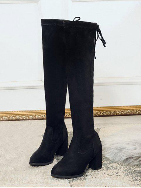 women's Plain Mid Heel Suede Tight High Boots - BLACK EU 35 Mobile
