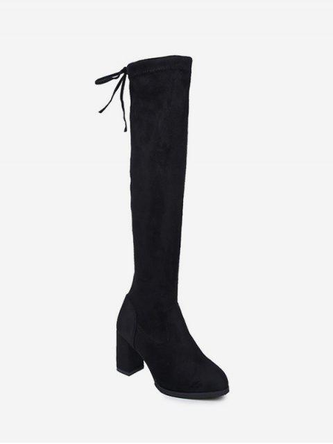 women's Plain Mid Heel Suede Tight High Boots - BLACK EU 37 Mobile
