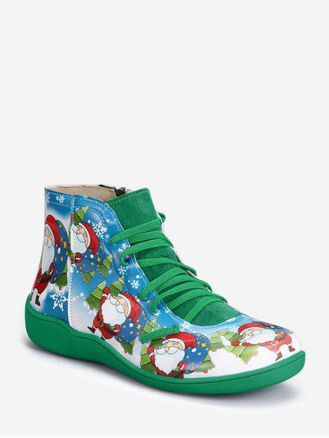fancy Christmas Santa Print Lace Up Ankle Boots - MEDIUM FOREST GREEN EU 37 Mobile