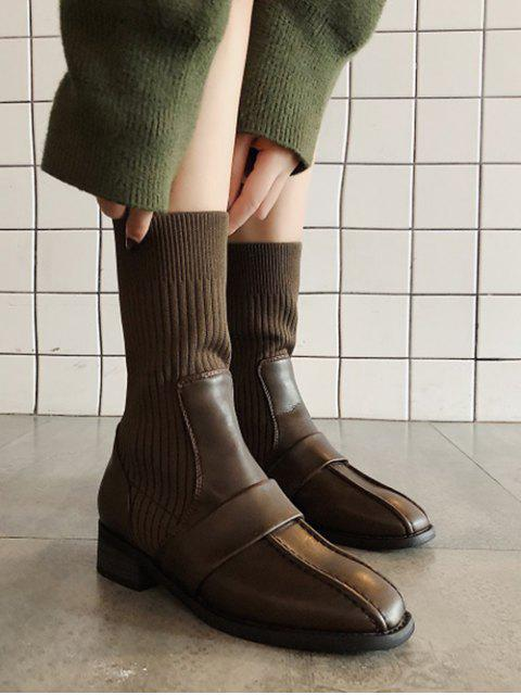 shops Square Toe Low Heel Sock Mid Calf Boots - BROWN EU 37 Mobile