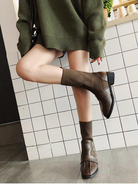 online Square Toe Low Heel Sock Mid Calf Boots - BROWN EU 35 Mobile