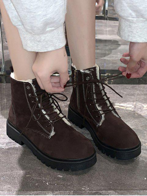 hot Suede Fleece Lace Up Ankle Boots - BROWN EU 35 Mobile