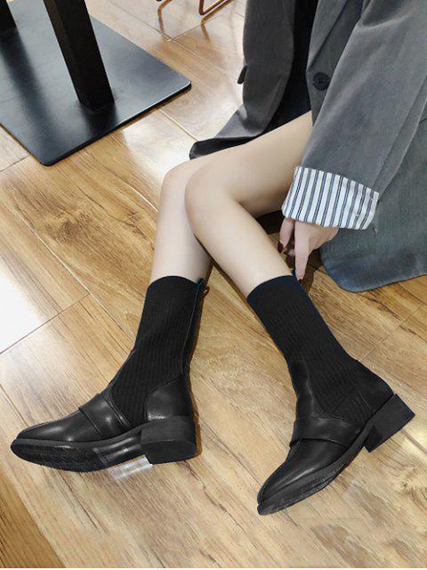 womens Square Toe Low Heel Sock Mid Calf Boots - BLACK EU 37 Mobile