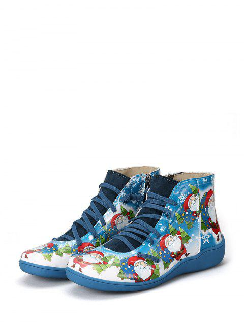 ladies Christmas Santa Print Lace Up Ankle Boots - BLUEBERRY BLUE EU 36 Mobile
