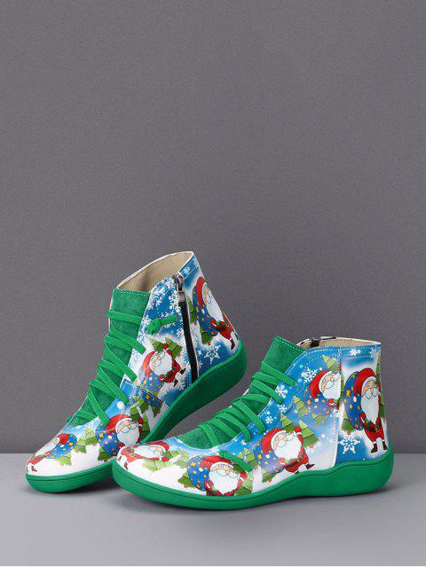 hot Christmas Santa Print Lace Up Ankle Boots - MEDIUM FOREST GREEN EU 38 Mobile