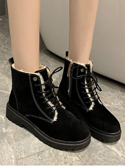 women Suede Fleece Lace Up Ankle Boots - BLACK EU 39 Mobile