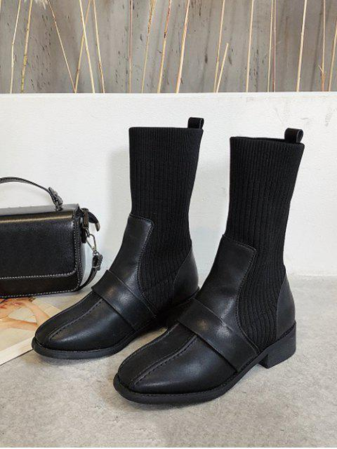 women's Square Toe Low Heel Sock Mid Calf Boots - BLACK EU 39 Mobile