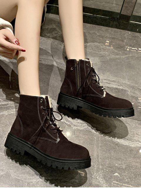 best Suede Fleece Lace Up Ankle Boots - BROWN EU 39 Mobile