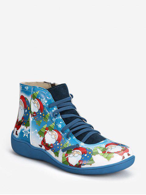 hot Christmas Santa Print Lace Up Ankle Boots - BLUEBERRY BLUE EU 40 Mobile