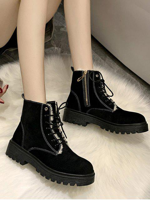 fashion Suede Fleece Lace Up Ankle Boots - BLACK EU 41 Mobile