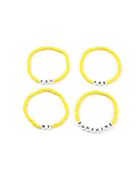 buy 4Pcs Beaded Letter Elastic Bracelets Set - YELLOW  Mobile