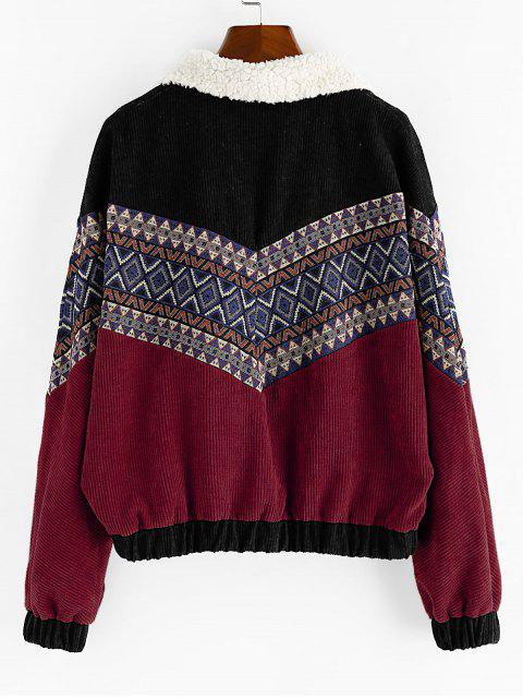 chic ZAFUL Double Breasted Tribal Print Faux Shearling Panel Corduroy Jacket - RED WINE S Mobile