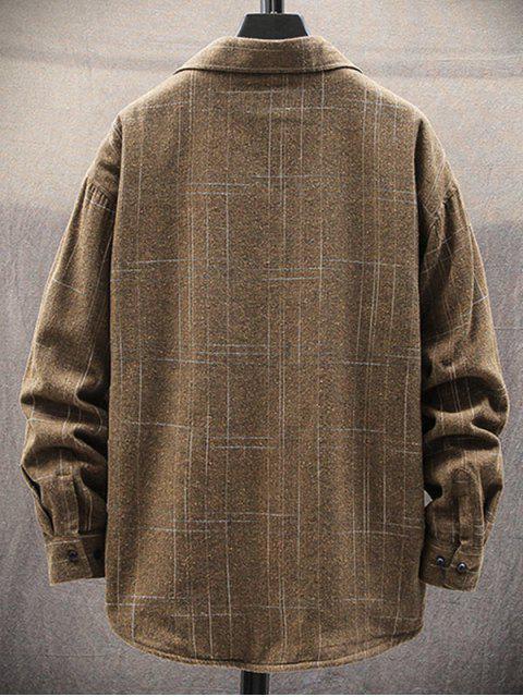 buy Plaid Print Chest Pocket Casual Fleece Shirt - KHAKI M Mobile