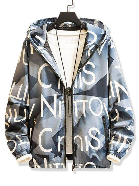 Carta del modelo gráfico postal Hasta la chaqueta con capucha - Azul Claro M Mobile
