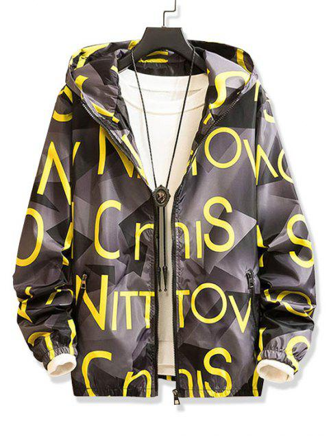 chic Letter Graphic Pattern Zip Up Hooded Jacket - SUN YELLOW L Mobile