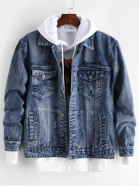 lady Letter Embroidery Graphic Scratch Jean Jacket - DENIM DARK BLUE S Mobile