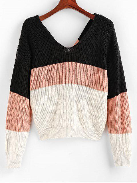best ZAFUL Colorblock Twisted Drop Shoulder Sweater - MULTI-A M Mobile