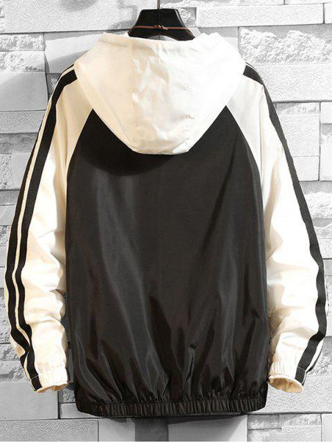 Colorblock postal Hasta la chaqueta con capucha informal - Blanco 2XL Mobile