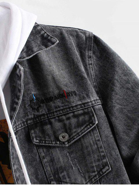 Veste Lettre Brodée Graphique en Jean - Noir S Mobile