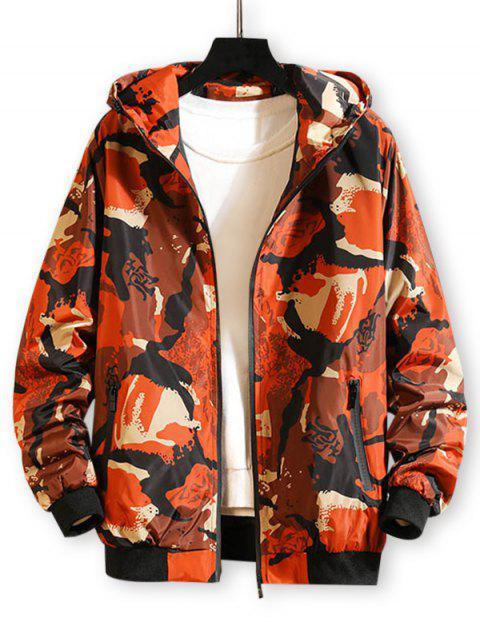 Veste à Capuche Zippée Camouflage Imprimé - Orange Citrouille XS Mobile