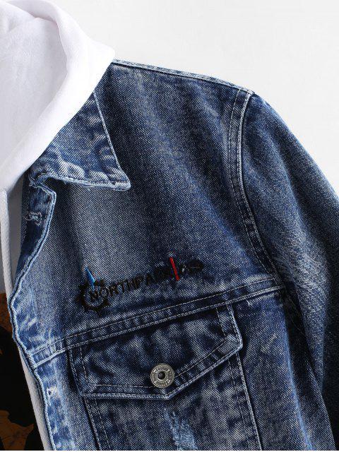 Veste Lettre Brodée Graphique en Jean - Bleu Foncé Toile de Jean XS Mobile