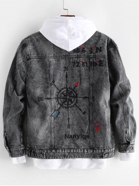 Chaqueta Jeans con Bordado de Letras y de Gráfico - Negro M Mobile