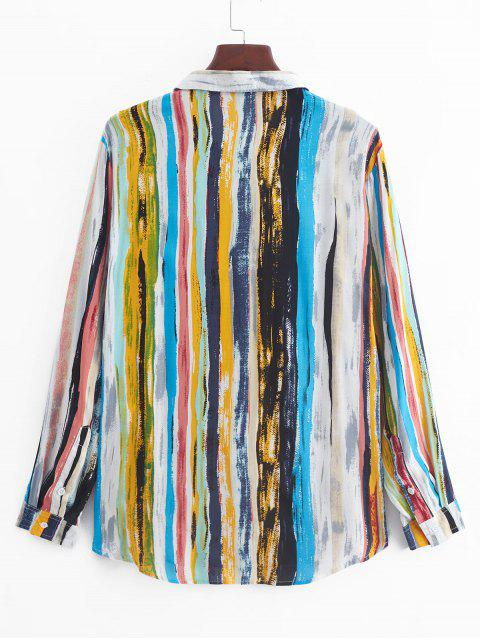 Camisa a rayas de manga larga de la vendimia Impreso - Multicolor-A 3XL Mobile