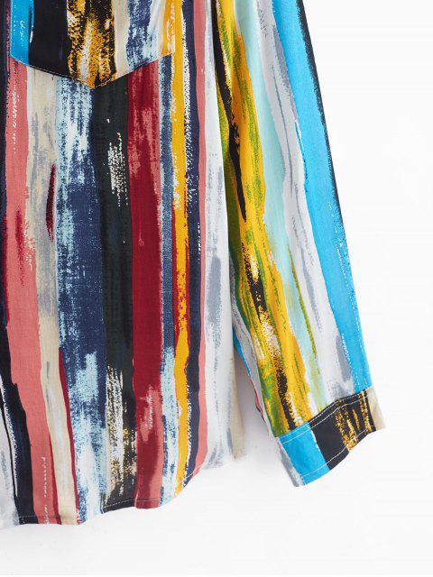 Chemise Vintage Rayée Imprimée à Manches Longues - Multi-A M Mobile