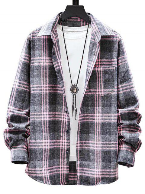 shop Plaid Pattern Button Long Sleeves Shirt - LIGHT PINK L Mobile