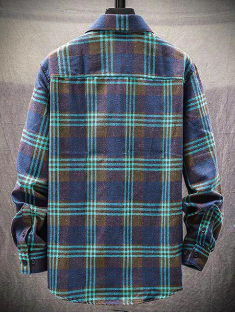 best Plaid Pattern Button Long Sleeves Shirt - GREEN L Mobile