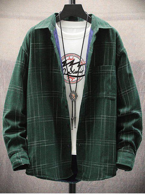 ladies Plaid Print Chest Pocket Casual Fleece Shirt - DARK GREEN M Mobile