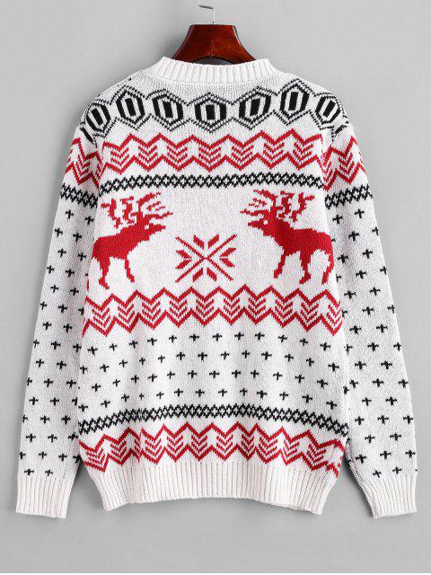 unique Crew Neck Christmas Elk Snowflake Graphic Sweater - WHITE XL Mobile