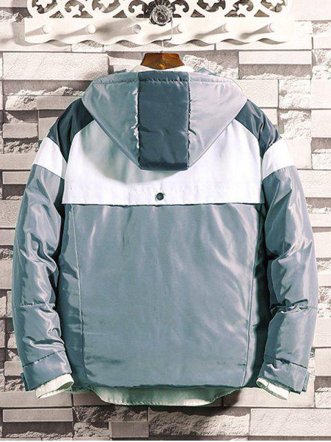 El bloqueo de color cremallera con capucha Hasta Puffer Jacket - Platino L Mobile