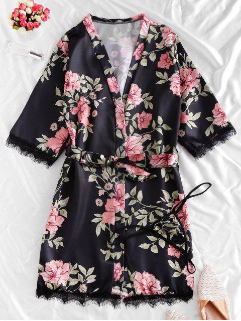 unique Lace Trim Satin Floral Robe Set - BLACK M Mobile