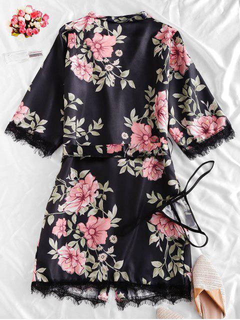 buy Lace Trim Satin Floral Robe Set - BLACK S Mobile