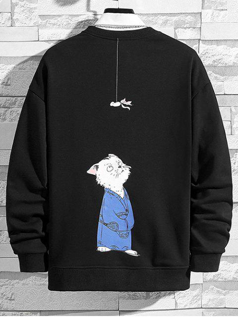 buy Cartoon Cat and Hanging Fish Print Crew Neck Sweatshirt - BLACK M Mobile