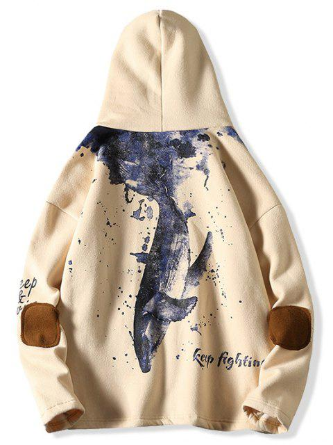 hot Letter Fish Printed Pocket Design Hoodie - APRICOT M Mobile