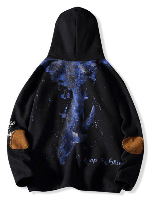 Carta de pescado Impreso Diseño bolsillo con capucha - Negro M Mobile